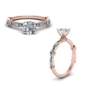 Pave Diamond Ring With Topaz