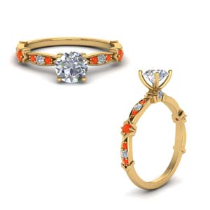 Orange Topaz Pave Vintage Ring