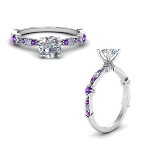 Platinum Purple Topaz Small Ring