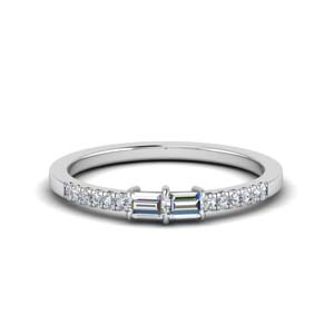Baguette With Pave Diamond Ring