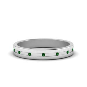 White Gold Emerald Women Band