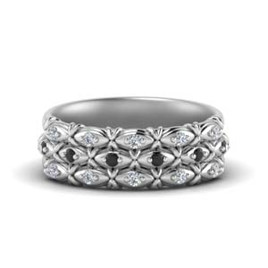 Platinum Black Diamond Stack Band