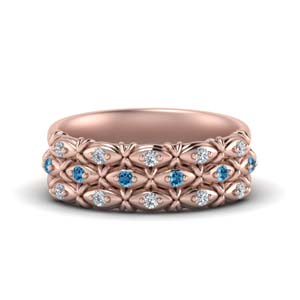 Three Row Pink Gold Promise Band