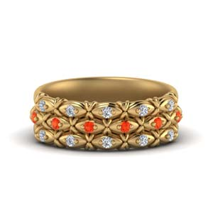 Gold Orange Topaz Wedding Band