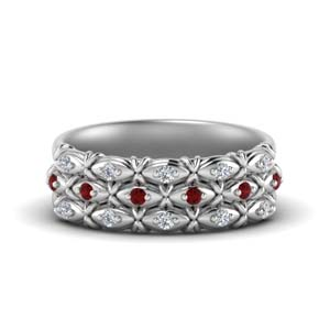 Unique Wedding Band With Ruby
