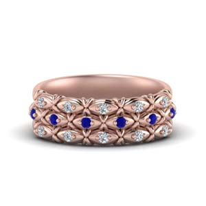 Three Row Diamond And Sapphire Band