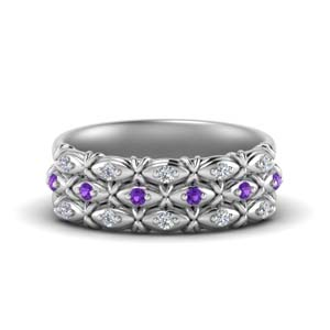 Purple Topaz And Diamond Women Band