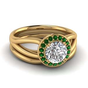 Emerald Split Shank Diamond Wedding Set