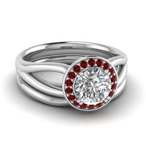 Ruby Halo Diamond Wedding Set