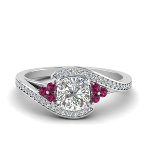 Cushion Pave Pink Sapphire Ring