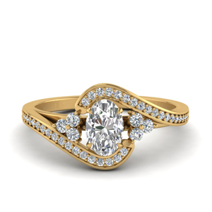 Pave Swirl Oval Diamond Engagement Ring