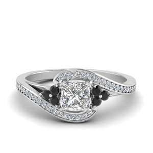 Princess Cut Pave Black Diamond Ring