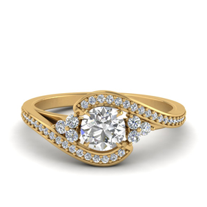 Swirl Diamond Gold Ring