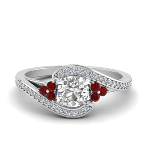 Pave Swirl Round Diamond Ring