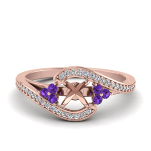 Purple Topaz Mounting Pave Ring