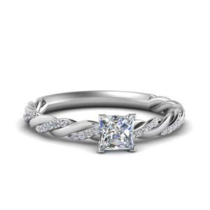 Princess Cut Twisted Diamond Ring