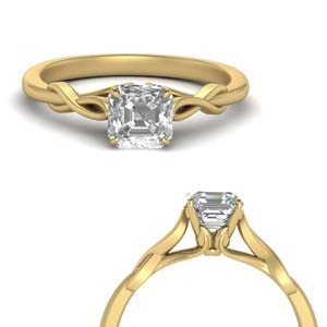 Asscher Cut Diamond Leaf Ring