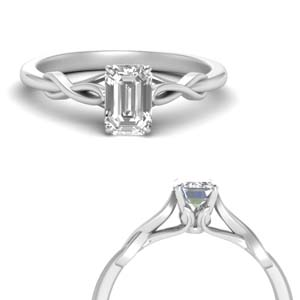 Platinum Solitaire Emerald Cut Ring