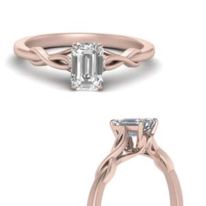 Twisted Emerald Cut Moissanite Ring