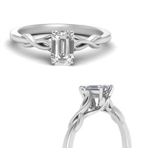Emerald Cut Twisted Moissanite Ring