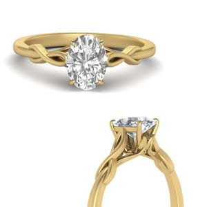Round Cut diamond Solitaire Engagement Rings in 14K Yellow Gold