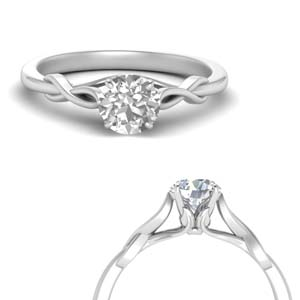 Leaf Pattern Round Diamond Ring