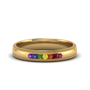 Rainbow 7 Stone Milgrain Band