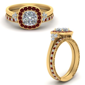 Halo Ruby Ring With Filigree Band