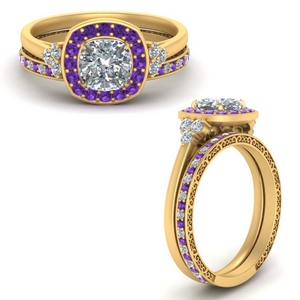 Purple Topaz Ring With Filigree Band