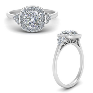 Halo Cluster Diamond Filigree Ring