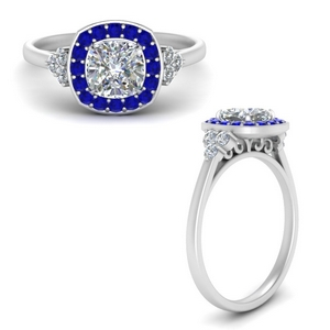 Halo Cluster Sapphire Ring
