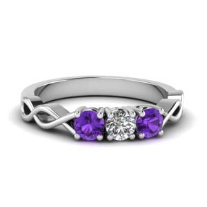 Three Stone Women Ring With Purple Topaz