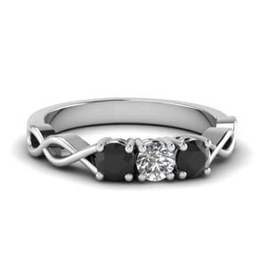 Platinum Round Black Diamond Band
