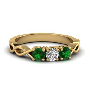 Infinity Pattern Emerald Women Ring