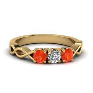Orange Topaz Women Wedding Ring