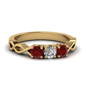 Infinity 3 Stone Ruby Ring