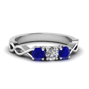 3 stone with sapphire infinity promise band in FD122861BGSABL NL WG