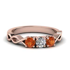 Diamond And Orange Sapphire Band