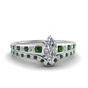 Emerald Ring & Wedding Band