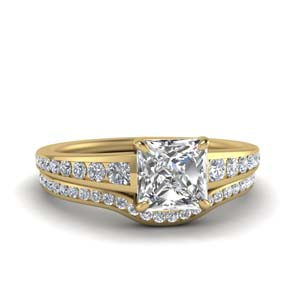 Graduated Channel Diamond Wedding Set