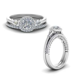 Halo Diamond Ring With Matching Band