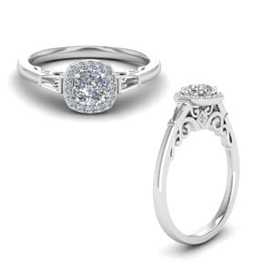 Halo Three Stone Moissanite Ring
