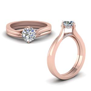 Swirl Prong Diamond Wedding Set