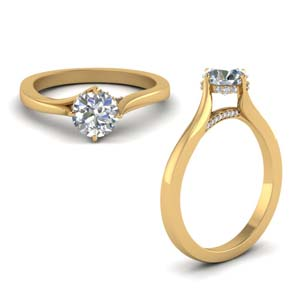 Twisted Prong Round Diamond Ring