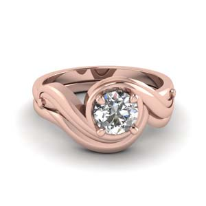 Swirl Wedding Ring Set