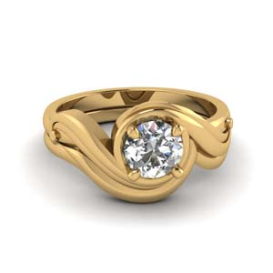 Swirl Solitaire Wedding Ring Set