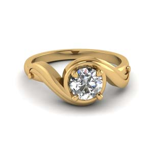 Swirl Diamond Ring In 14K Gold