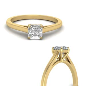 High Set Solitaire Asscher Cut Ring
