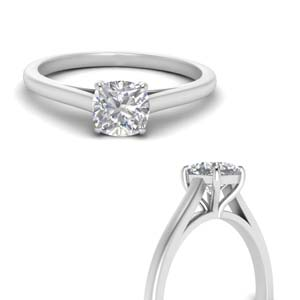 Single Cushion Cut Diamond Ring