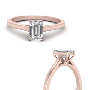 High Set Emerald Cut Diamond Ring